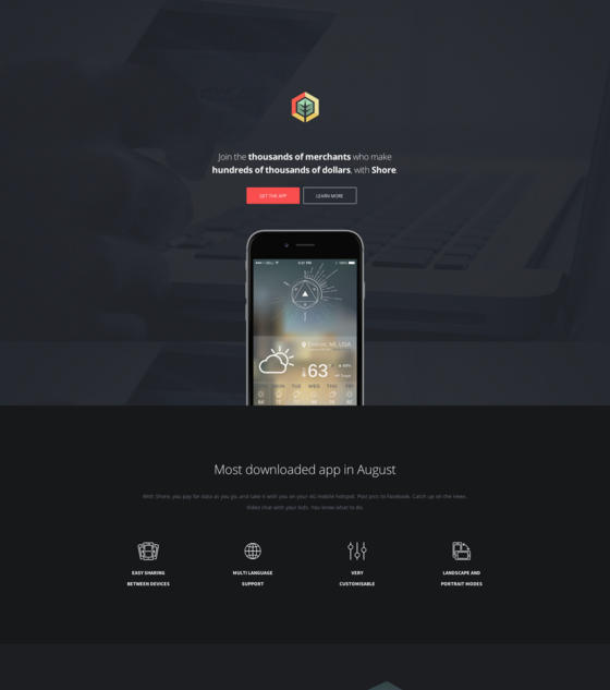 Shore - App Landing Page by HighGrade