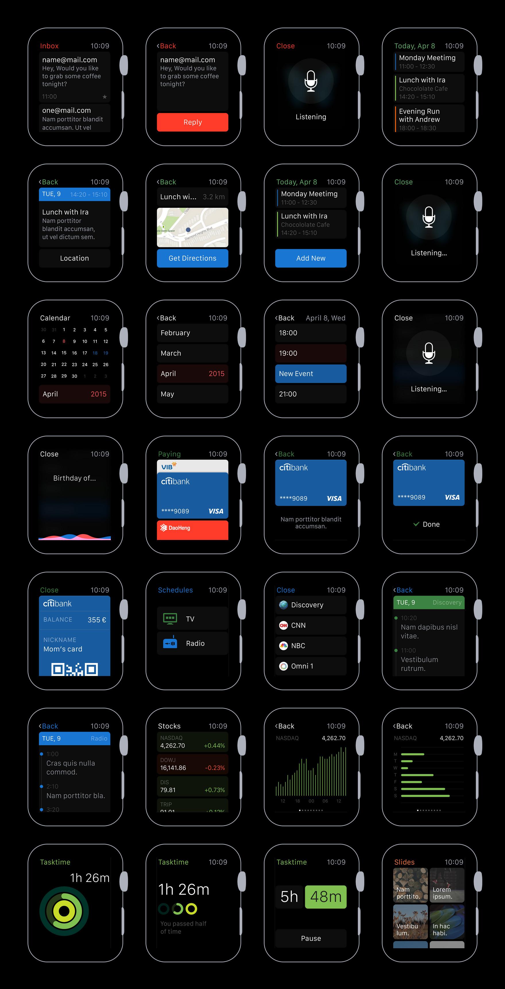 Apple Watch UI Kit by CreativeDash - Hello Many